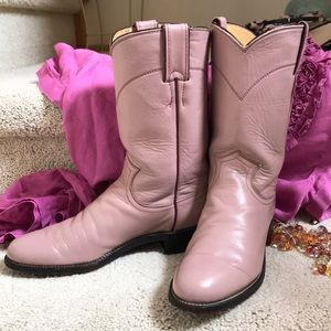 JUSTIN VTG Lavender Leather Cowgirl Boots Sz 6 1/2